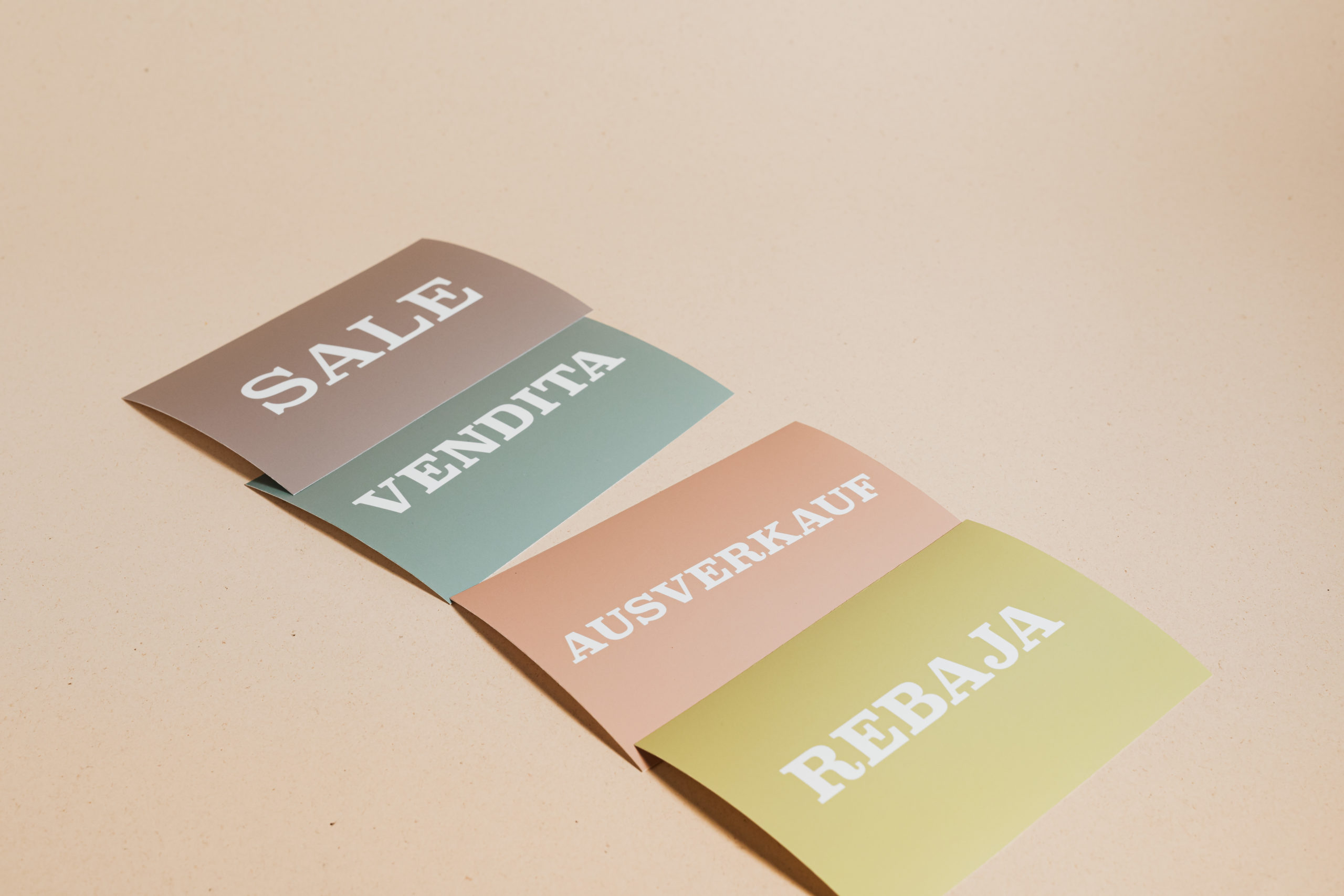 Sale cards on beige background